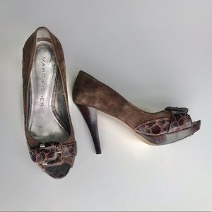 Marc Fisher Brown Peep Toe Platform Pumps Size 6.5